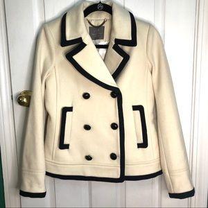 J.Crew white wool pea coat, w/black trim Small
